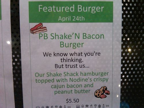 Shake Shack PB Bacon Burger sign