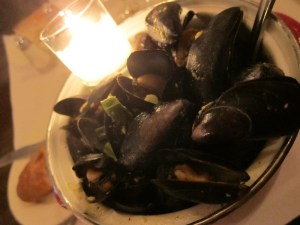 overflowing pot of mussels..