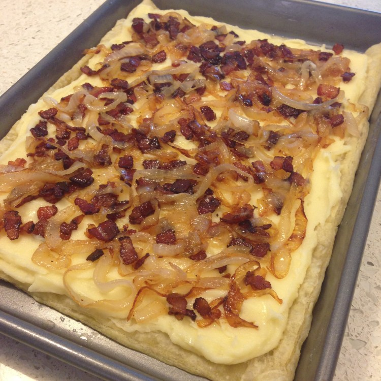 Broken Face Recipe: Mashed Tater Tart with Bacon and Caramelized Onions