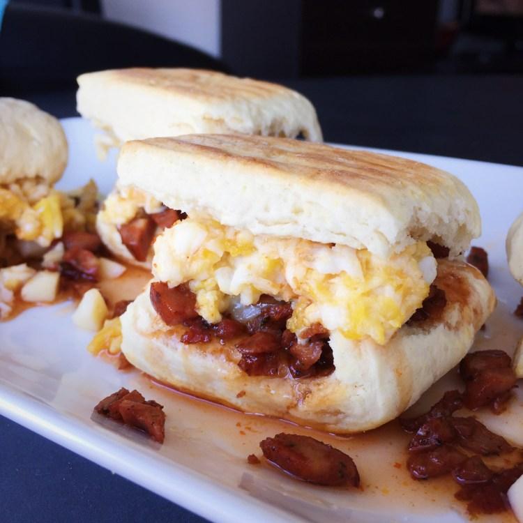 Chorizo, Cheddar & Soft Scrambled Egg Biscuit Sliders w/ Sriracha-Honey