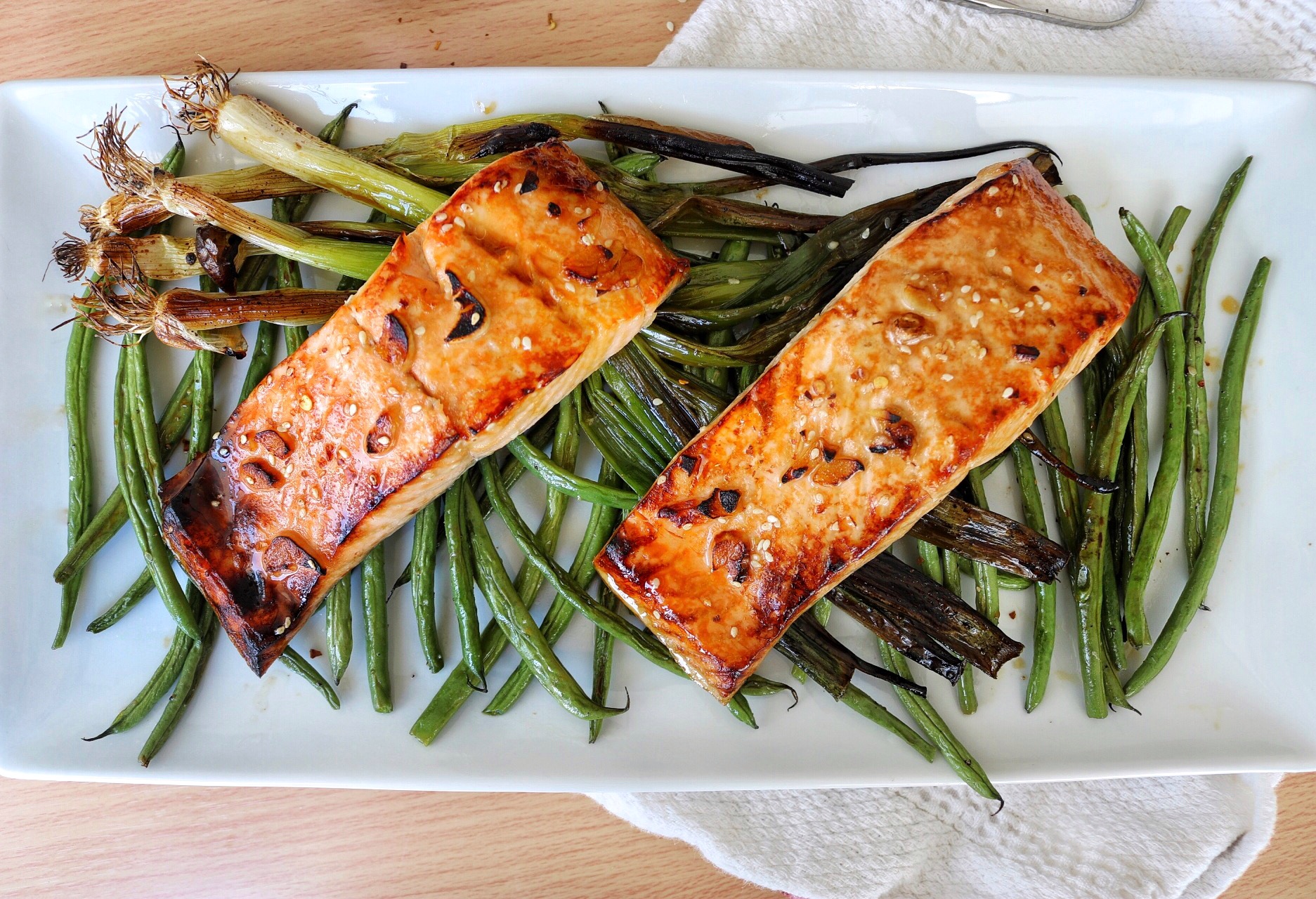 Broiled Honey Sesame Salmon - Dara Pollak