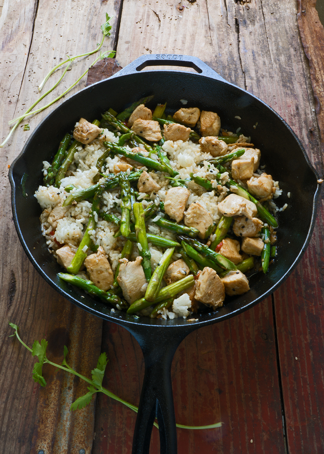 Stir Fry Asparagus with Rice Done in 20 Minutes |
