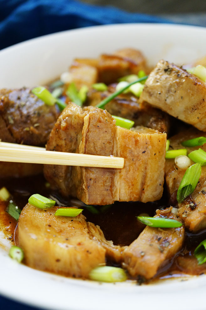 This Steamed Pork Belly with Asian Glazed Sauce is the adjacent recipe after I made Lechon Kawali because both recipes prelude with boiling to soften.
