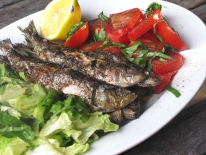 Sardines, fresh off the grill
