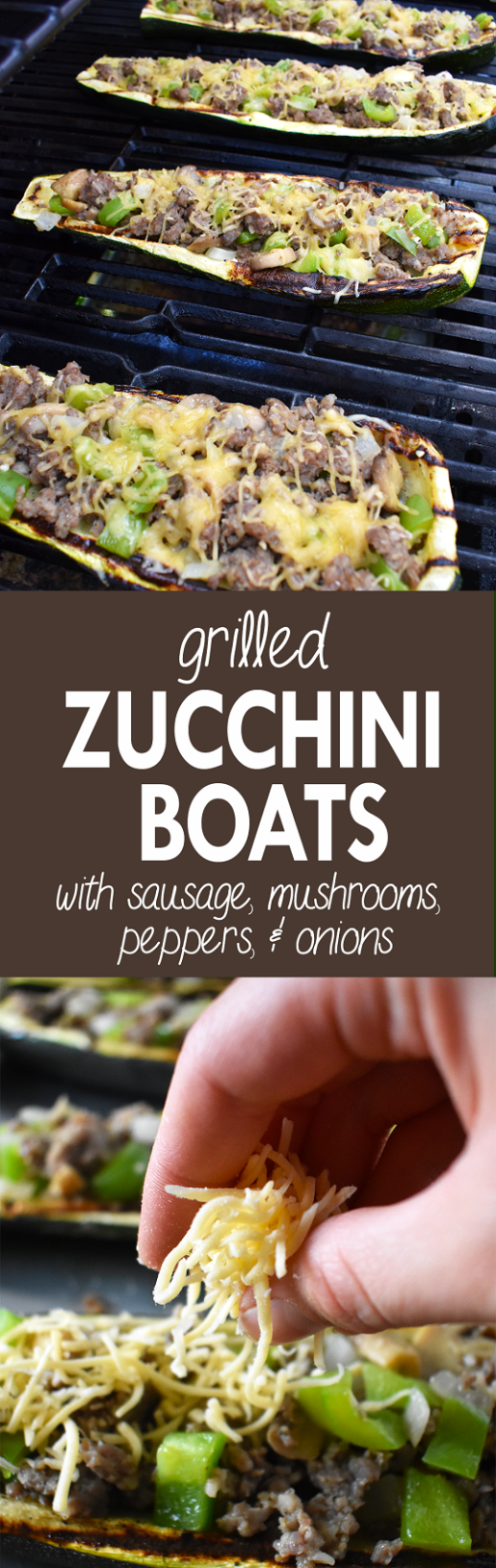 Grilled Zucchini Boats with Sausage, Mushrooms, Peppers, & Onions | The Small Town Foodie