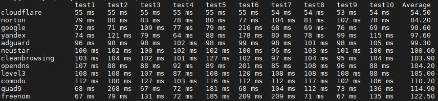 DNS results