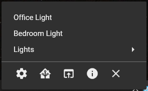 Icons are as follows: Settings, HA in a mini window, HA in a browser, About, Exit.