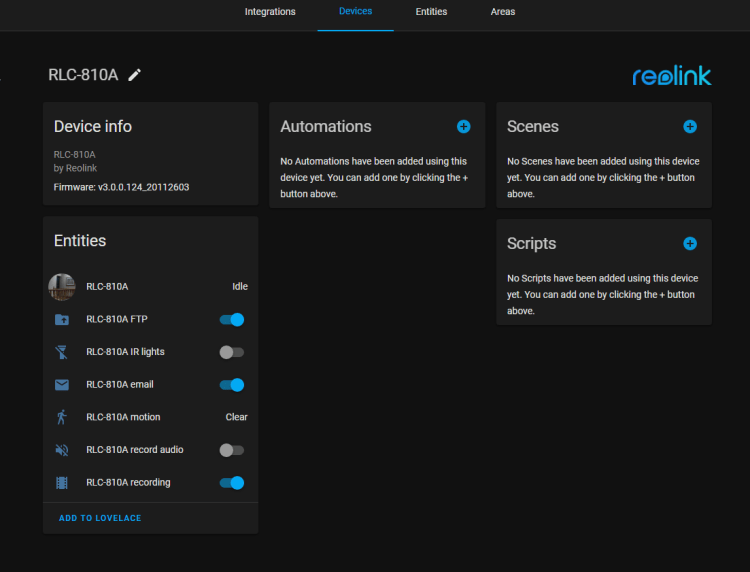 Reolink Camera Attributes in Home-Assistant