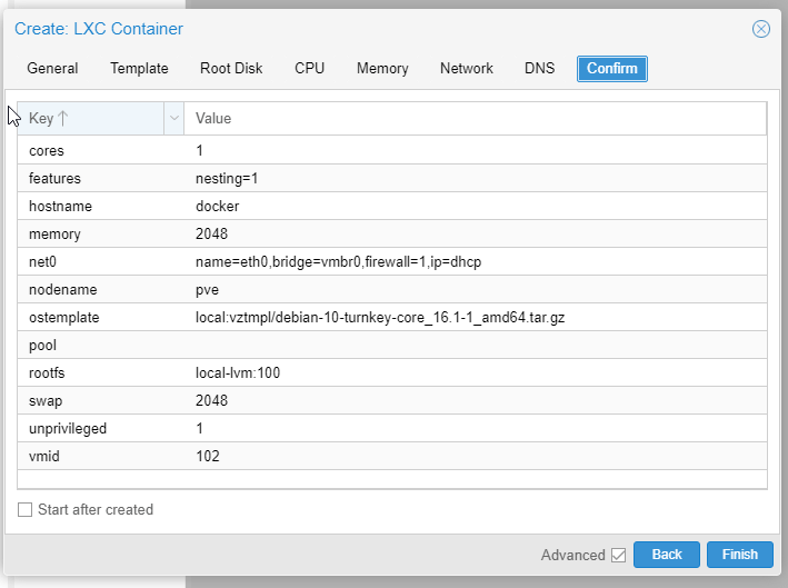 Create Container Confirm Screen