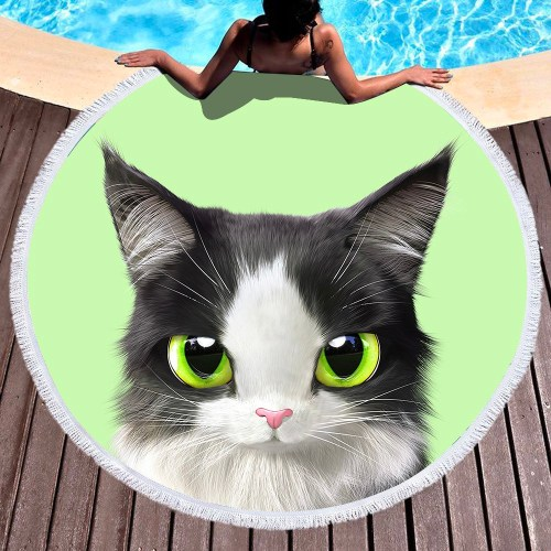 Green Eye Kitty Round Beach Towel