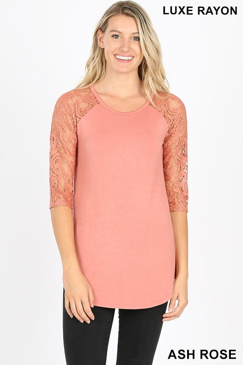 AT-5571P Ash Rose Luxe Rayon Lace Half Sleeve Ladies Top
