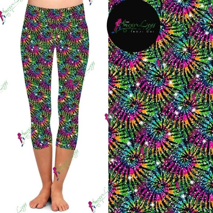Glitter Up Printed Capri Length Yoga Band Leggings *Pre-Order