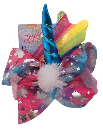 JoJo Colour Blend Fluff Stars Blue Unicorn Bow