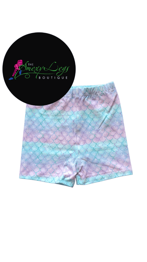 Shimmer Scale Printed Kids Bike Shorts