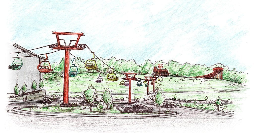 The Pigeon Forge chairlift will be located next door to Pigeon Forge Snow (artist rendering provided by Matthew Ayers)