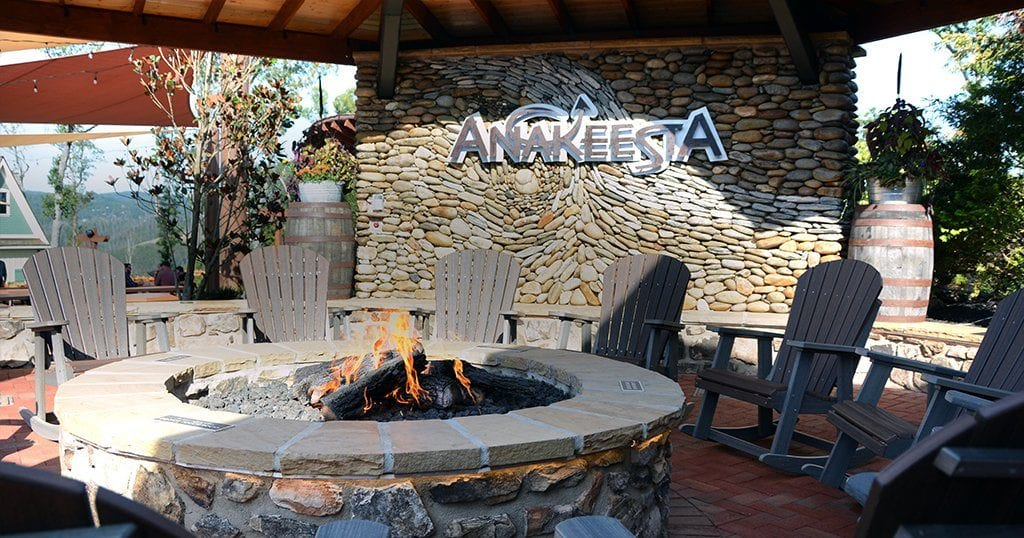 A fire pit rests at the top of the mountain in Anakeesta's all-new Black Bear Village expansion (photo by Daniel Munson/TheSmokies.com)