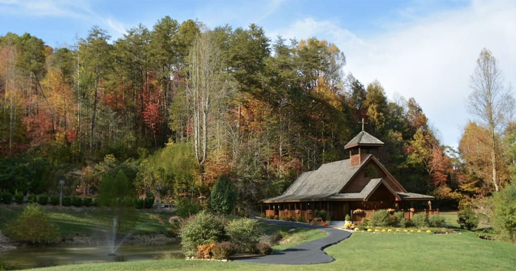 Gatlinburg's Little Log Wedding Chapel is one of the largest venues on our list with room for 100 guests and is located near the Arts and Crafts Community in Gatlinburg (photo courtesy of Gatlinburg's Little Log Wedding Chapel)