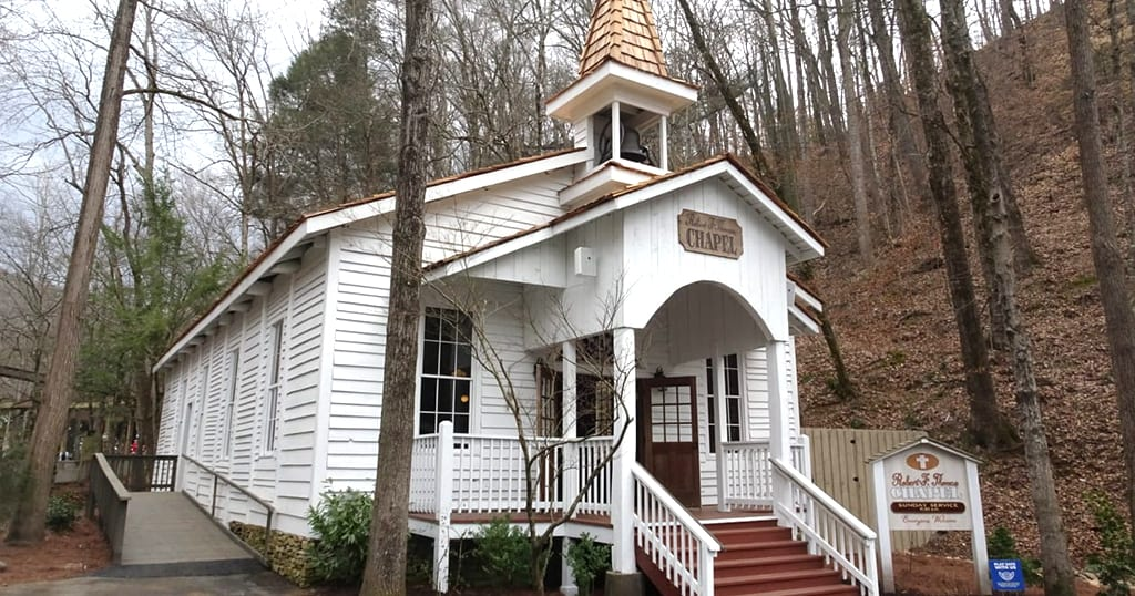 Dollywood's Robert F. Thomas chapel was dedicated in May of 1973 as part of Goldrush Junction. In 2021, it's receiving a few renovations to keep it in tip-top shape (photo by Daniel Munson/TheSmokies.com)
