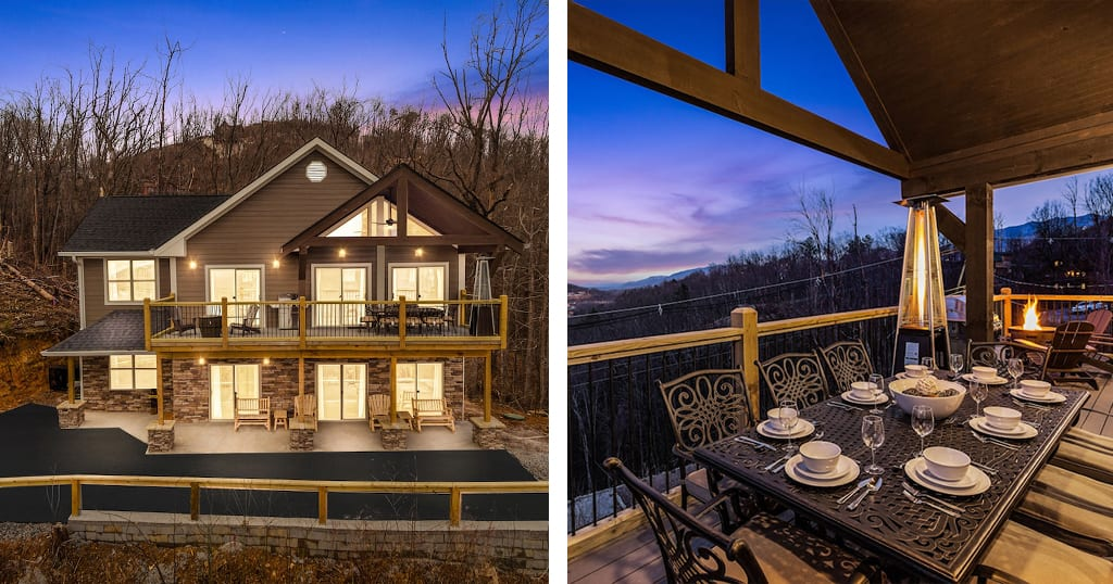 Bearfoot Escape features 3 king suites, incredible views, a game room and a fire pit (photos by Bearfoot Escape/VRBO)