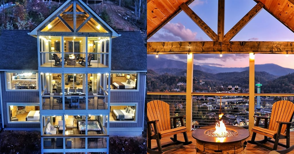 This cabin features million-dollar views of downtown Gatlinburg from nearly every room and every balcony of the house (photos courtesy of Heaven's Cabins/VRBO)