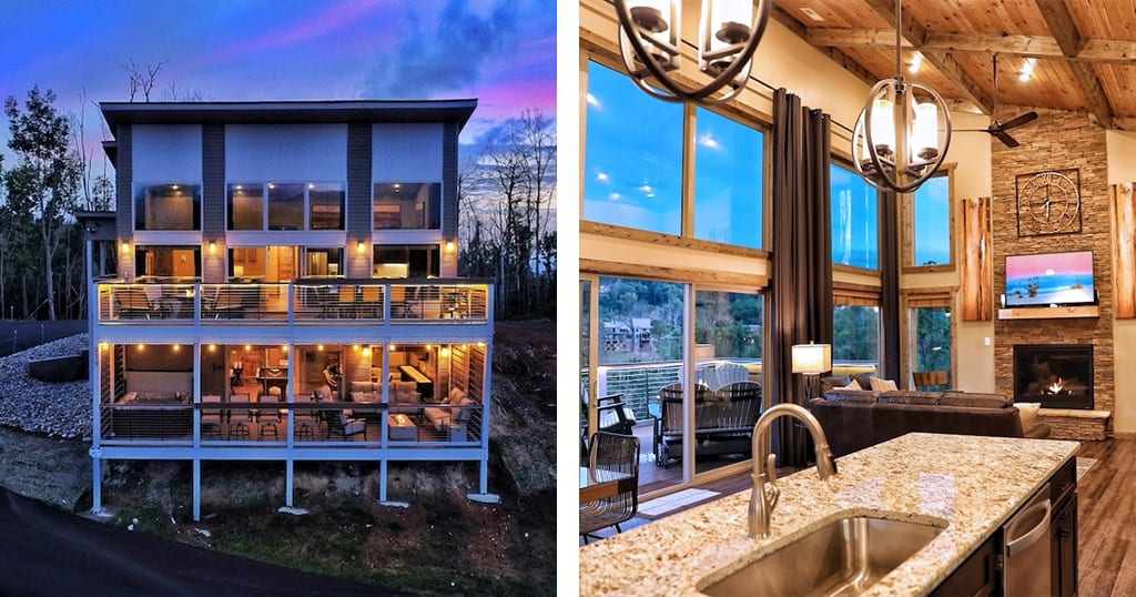 Heaven's Dream features a high-end modern rustic aesthetic throughout with incredible mountain views (photos courtesy of Heaven's Cabins/VRBO)