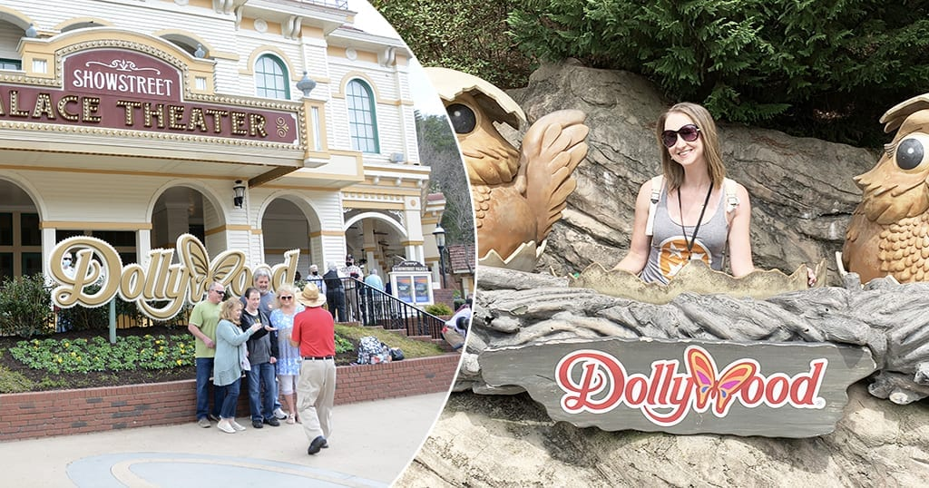 People pose in front of Dollywood signage