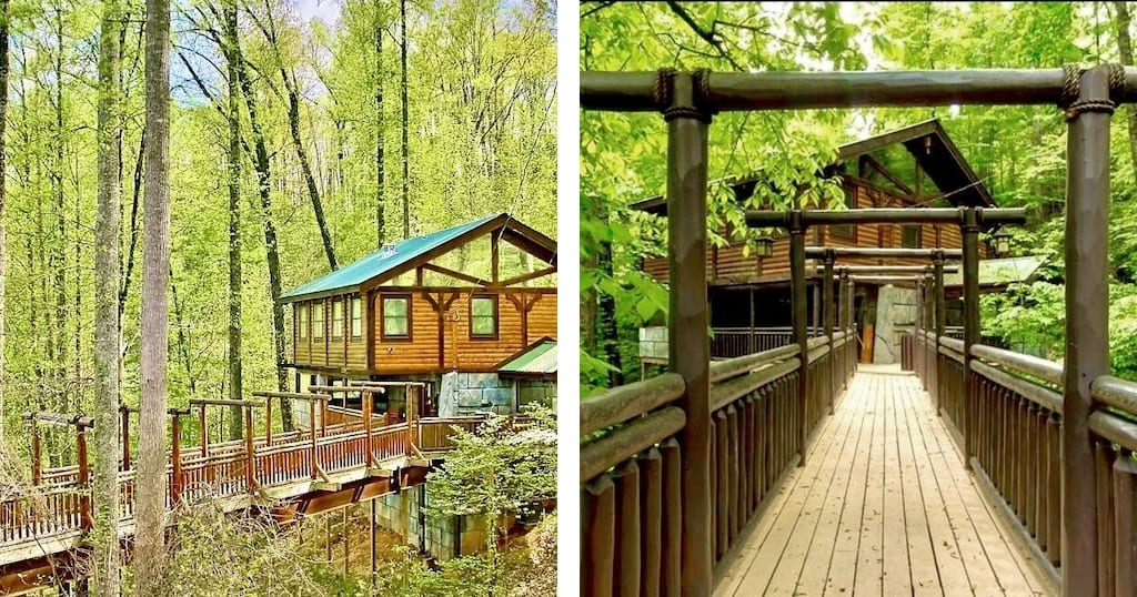 If privacy is more your speed - check out this grotto style cabin with two kind suites (photos by Bear Paw Bridge/VRBO)