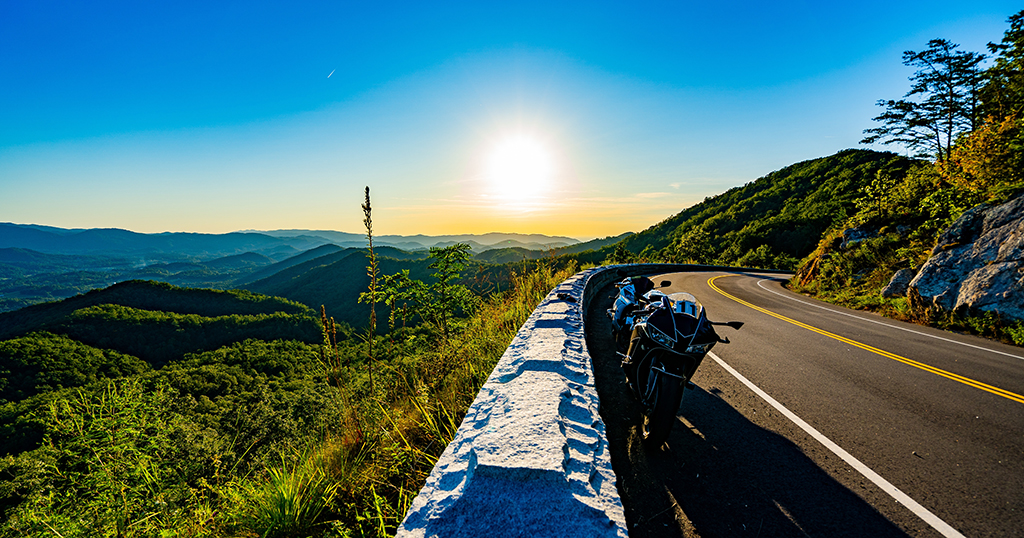 A motorbike parked on the Foothills Parkway