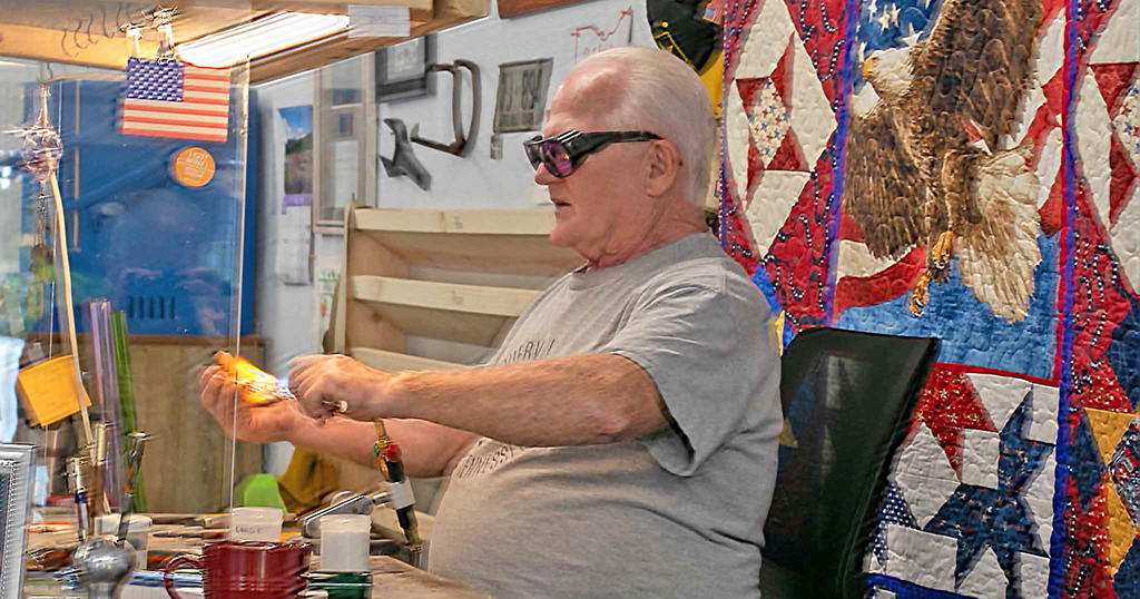Glass blowing inside the Gatlinburg Arts and Crafts Community