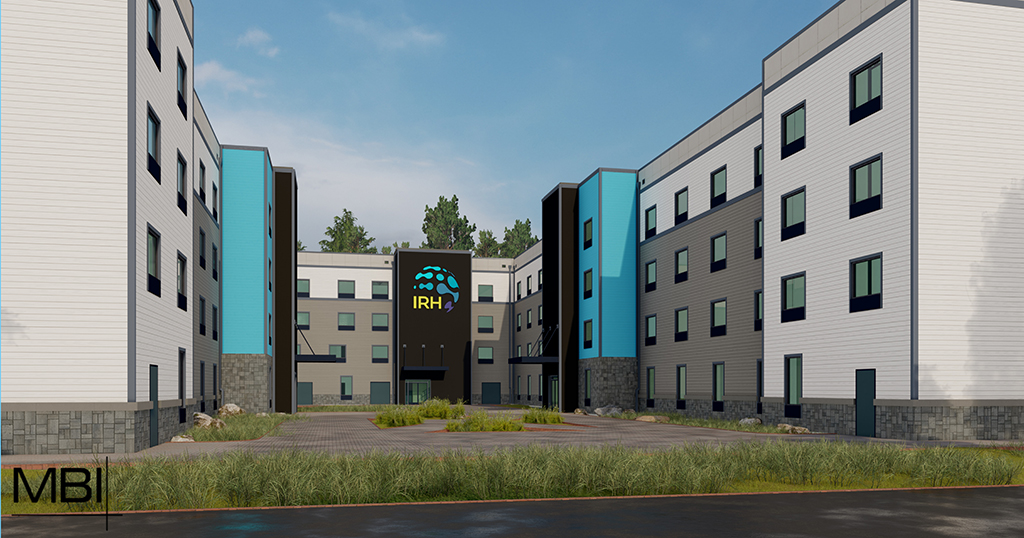 A rendering of what the new four-story on-site residence hall will look like upon completion