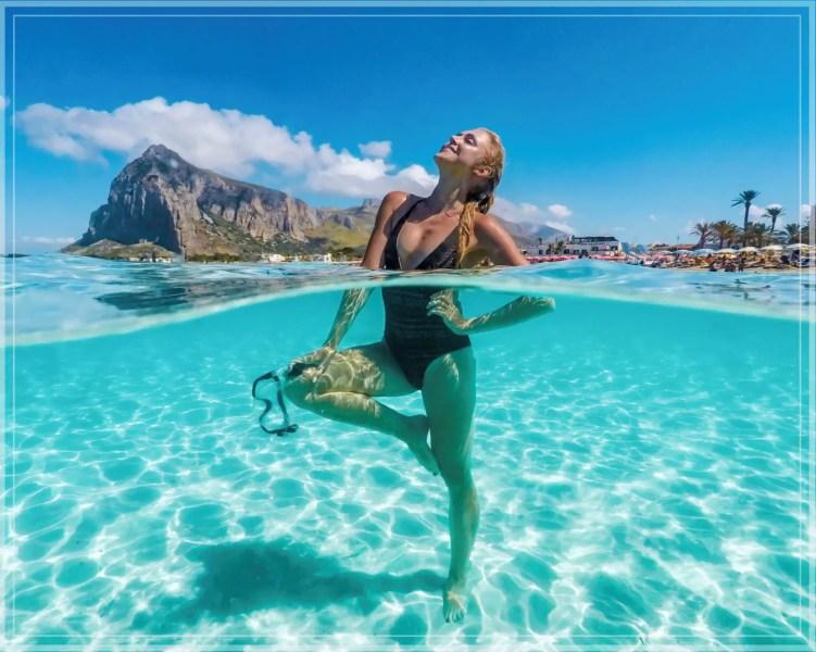 Tropical blue water at San Vito Lo Capo beach