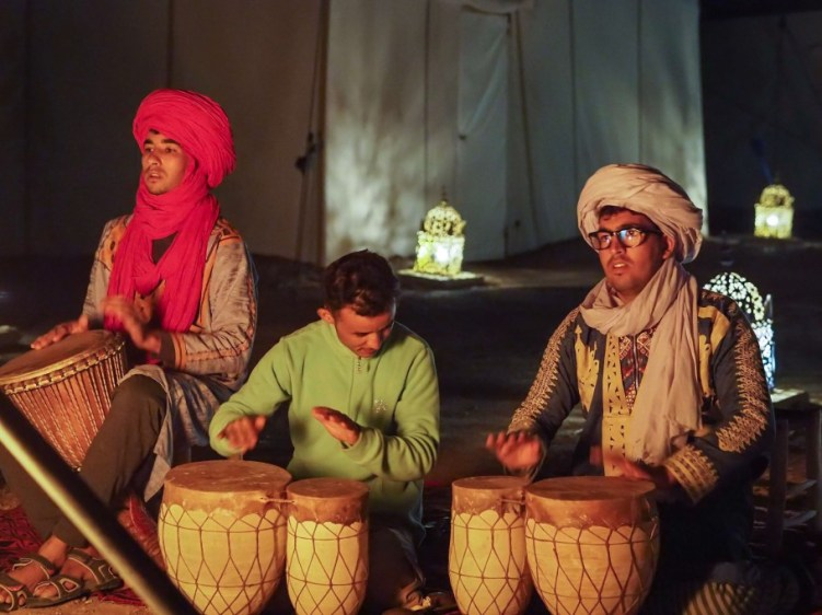 Berber drum show at a Sahara desert camp in Morocco