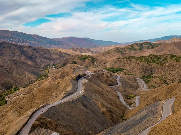 Winding roads near the Atlas Mountains in Morocco