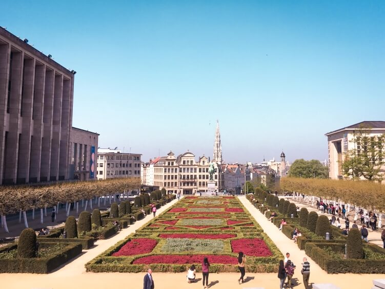 A view over the public garden of Mont des Arts in the centre of the city