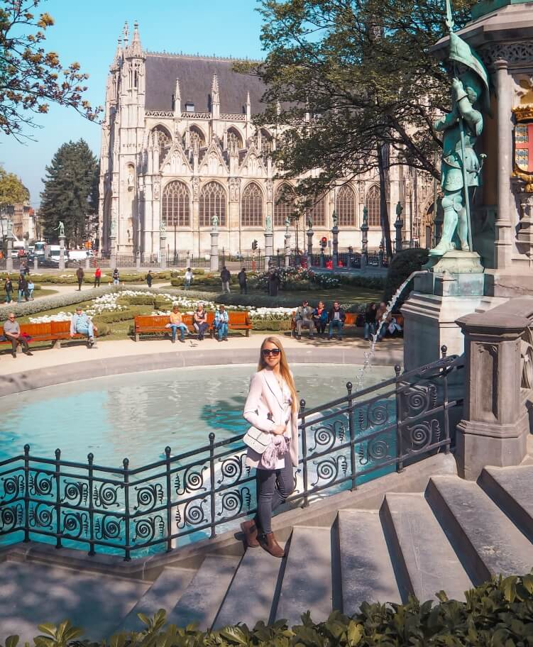 The fountain at Place du Petit Sablon, one of the best parks in Brussels, filled with sculptures and flowers.
