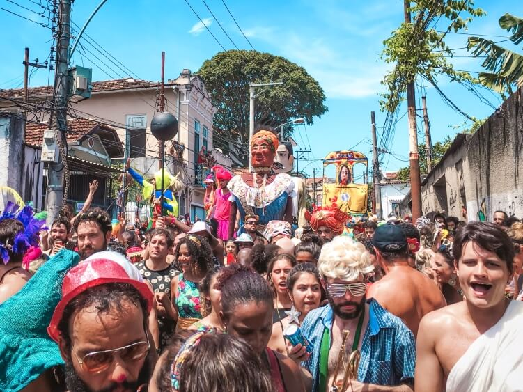 Festive crowds of Ceu Na Terra bloco in Santa Teresa neighbourhood during the Rio de Janeiro carnival