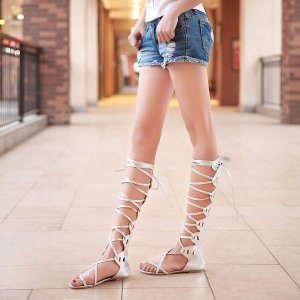 Out Strappy Flat Knee Sandals Online
