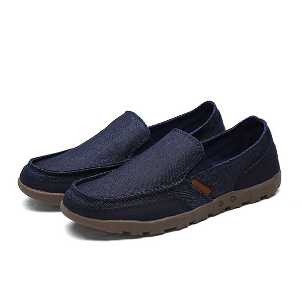 eaaad9ab862 Men Canvas Casual Shoes Breathable Slip On Loafers Wear-Resisting ...