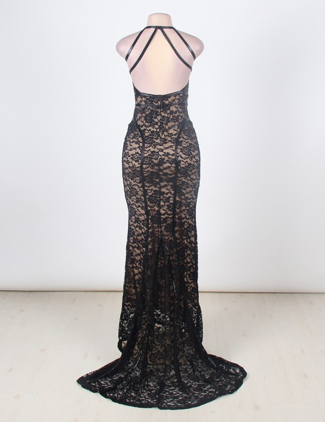 f1eacb1475ed Black Floral Lace Halter Evening Gown – The S-n-B Shop
