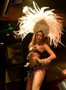 Dancer onstage with Nessa V at Fortune Sound Club, June 3 2010. Jason Statler photo