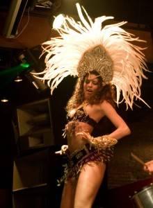 Dancer onstage with Nessa V at Fortune Sound Club, June 3 2010. Jason Statler photo