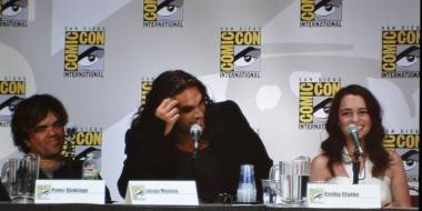 Peter Dinklage, Jason Momoa and Emilia Clarke at the Game of Thrones panel, San Diego Comic-Con, July 21 2011.