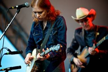 Gillian Welch at Vancouver Folk Music Festival, Vancouver, June 15 2011. Christopher Edmonstone photo