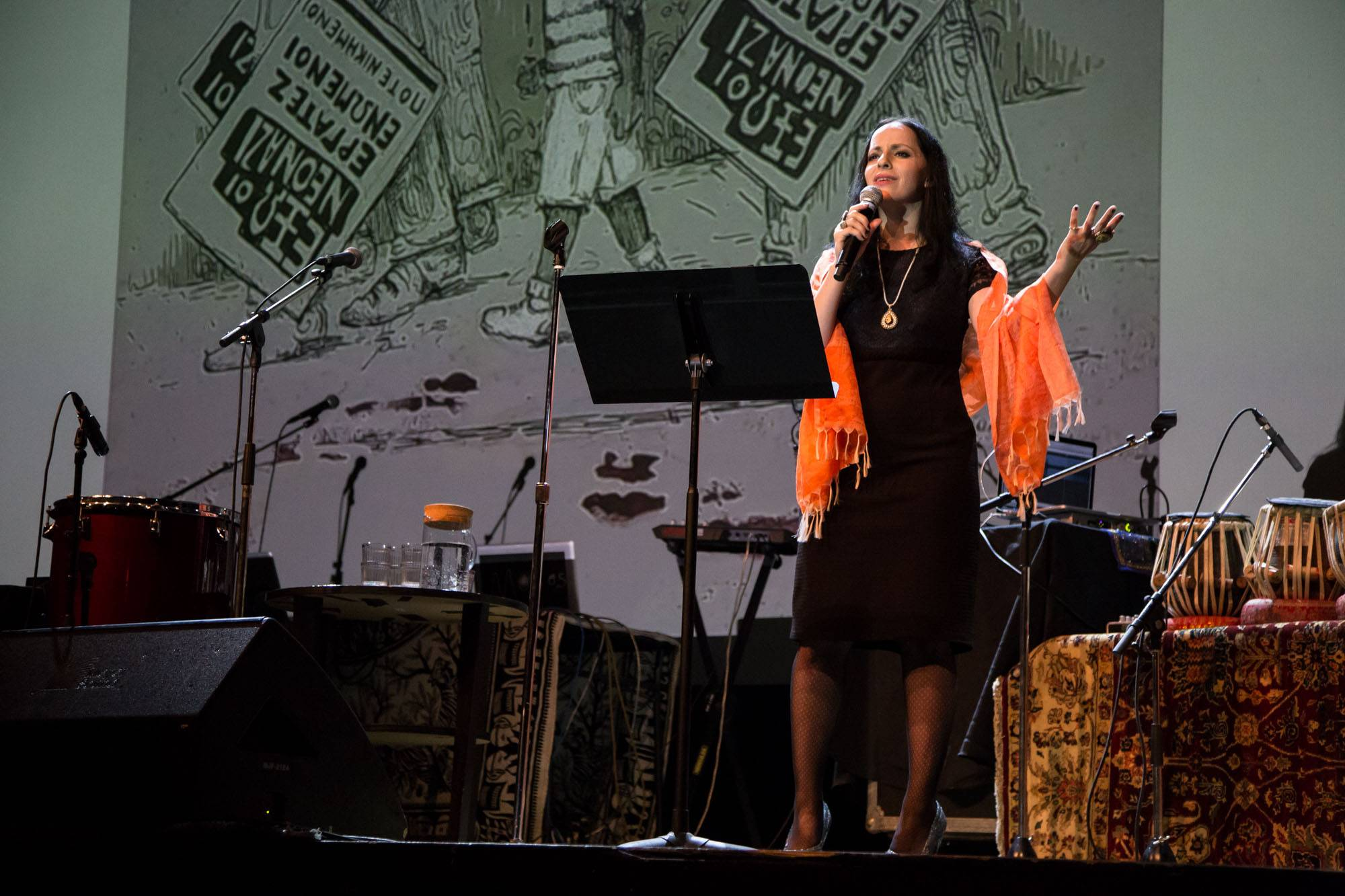 Molly Crabapple speaking at the Vogue Theatre, Vancouver, July 15 2017. Kirk Chantraine photo.