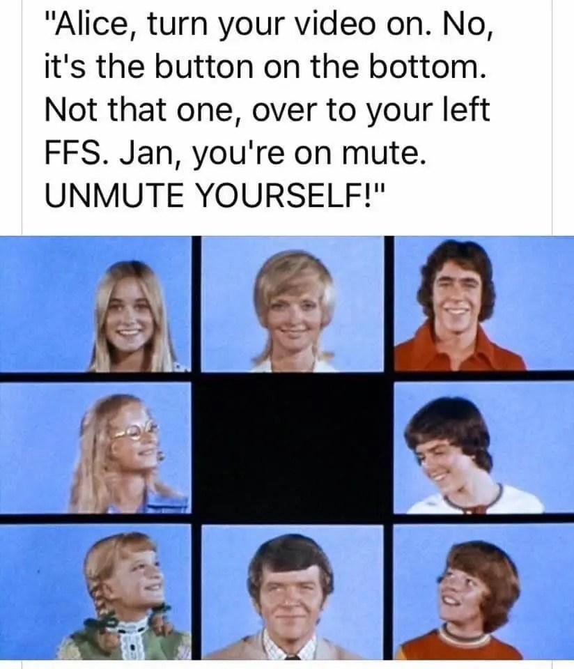 COVID-19 meme Brady Bunch