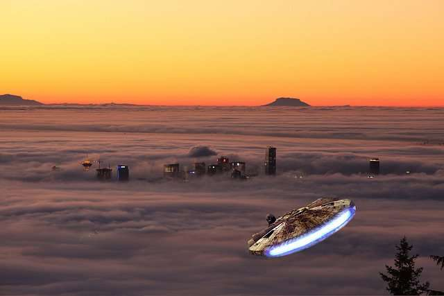 The Millennium Falcon approaches Bespin.