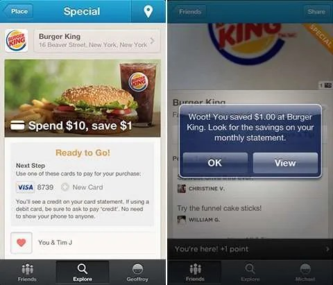 Burger King demonstrates the new Foursquare Specials.