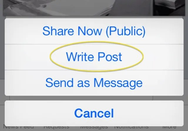 Be sure to click on Write Post when sharing a Facebook post to a Facebook Page.