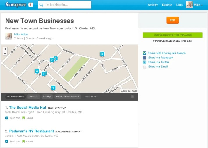 WOW your customers with Foursquare Lists