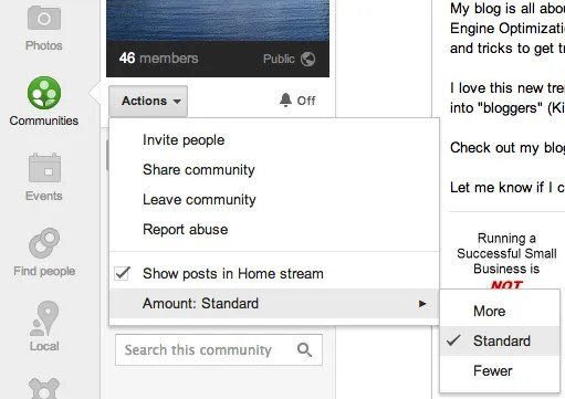 Adjust Google+ Community settings within the Actions menu.
